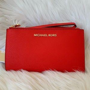 Michael Kors double zip wristlet wallet